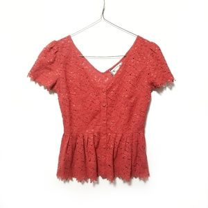 Anthropologie Two of Us Orange Peplum Lace Top